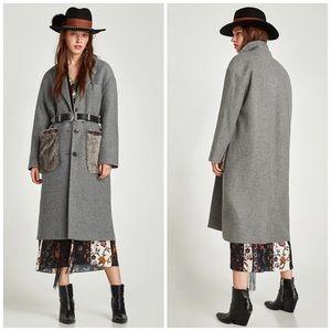 NWT Zara Fur Pocket Long Grey Wool Coat